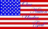"""An Illustration of the American flag with the words """"One Nation Under God"""" superimposed over it"""