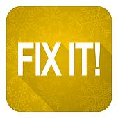fix it flat icon, gold christmas button