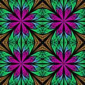 Symmetrical fractal pattern in stained-glass window style. Purpl