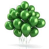 Green balloons crowd