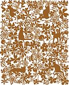 flower and cat pattern