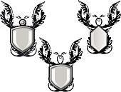 Group of silver decorated  emblems or  crests