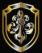 golden fleur de lis shield