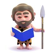 3d Caveman reading a book