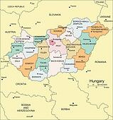 Hungary with Administrative Districts and Surrounding Countries