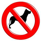 Sign prohibiting dogs