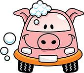 Car wash pig vector