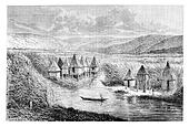 Cabou-heo-oue Village, vintage engraving