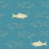 Seamless pattern of swimming fish with bubbles