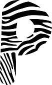 Font zebra, letter P