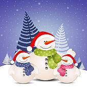 Funny family of snowman at Christmas
