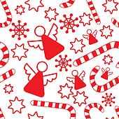 Seamless pattern with christmas angels, candy canes, snowflakes and stars.