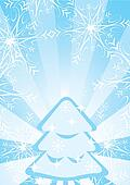 Blue Christmas background with fir-tree, snowflakes and stripes