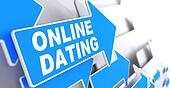 Online Dating on Blue Direction Arrow Sign.