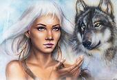 woman portrait with ornament tattoo on face with spiritual wolf and feathers jewelry. Painting.