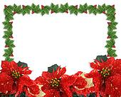 Christmas Holly and poinsettias border