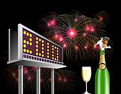 billboard  advertising new year 2010 with wine and glass and fireworks