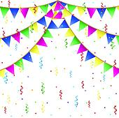 Colorful inflatable balloons background abstract festive backdrop - Confetti Cartoon Royalty Free Gograph