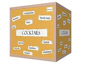 Cocktails 3D cube Corkboard Word Concept