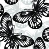 beautiful monochrome black and white seamless background with flying butterflies.