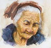 oil painting of an old woman