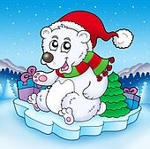 Cute Christmas bear with gifts