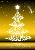 Christmas Tree with white stars- gold