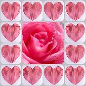Collage of hearts and rose