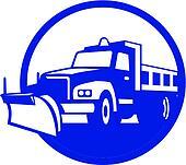 Snow Plow Truck Circle Retro