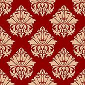 Retro damask style arabesque pattern