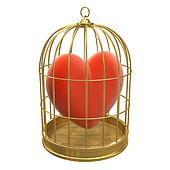 3d Red heart in a golden birdcage