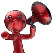 Man megaphone character making announcement red avatar