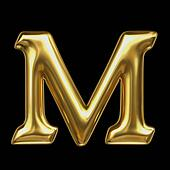 LETTER M in golden metal