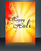 Beautiful grunge colorful template of holi brochure festival vector background