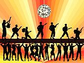 boygroup at concert-silhouette