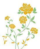 yellow peony pattern