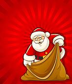 Santa Claus with empty sack for christmas gifts