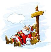 Christmas Santa claus sleeping near the post with arrow sign
