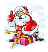 cheerful Santa Claus opening a Christmas gift box