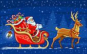 Christmas Santa Claus moving on the sledge with reindeer and gifts - vector illustration