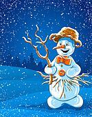 smiling snowman in winter night