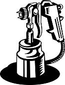 Spray gun viewed from a high angle in black and white