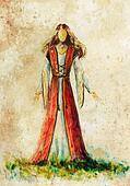 painting of woman medieval historic dress on paper, designer sketch.