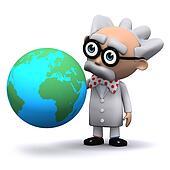 3d Scientist globe