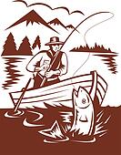 Fly fisherman catching trout on boat done in woodcut style
