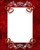 Valentines Day Border Red Hearts