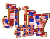 July 4th 3D text