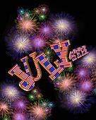 4th of July 3D text fireworks