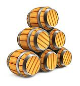 wooden barrels for wine and beer storage isolated