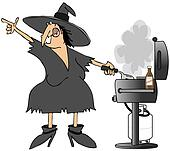 Witch grilling burgers